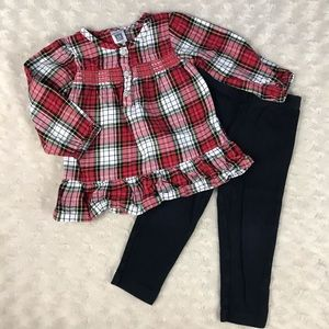 Carter's Baby Girl Outfit Red Plaid Top Black Pant